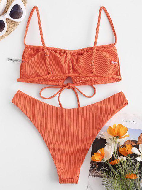 buy ZAFUL Ribbed Tie Detail Ruched Bikini Swimwear - ORANGE L Mobile