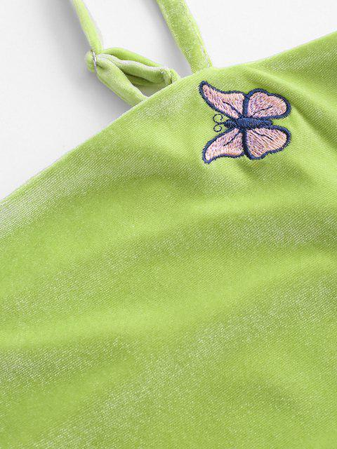 ladies Velvet Butterfly Embroidered Bodycon Dress - LIGHT GREEN M Mobile