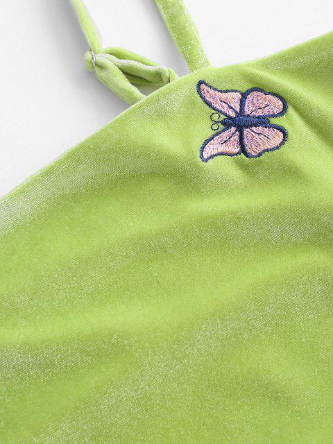 Robe Moulante Papillon Brodé en Velours - Vert clair L Mobile