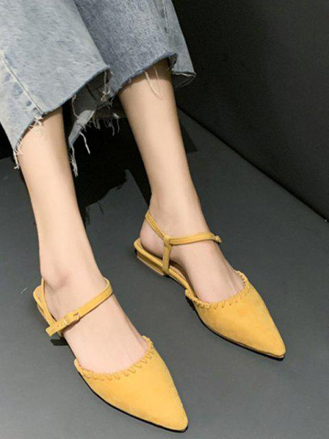 trendy Pointed Toe Suede Flat Sandals - SUN YELLOW EU 39 Mobile