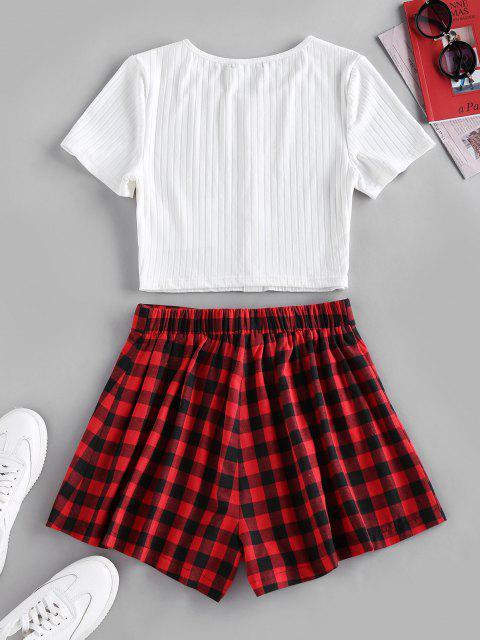 ZAFUL Geripptes T-Shirt und Kariertes Shorts Set - Rot S Mobile