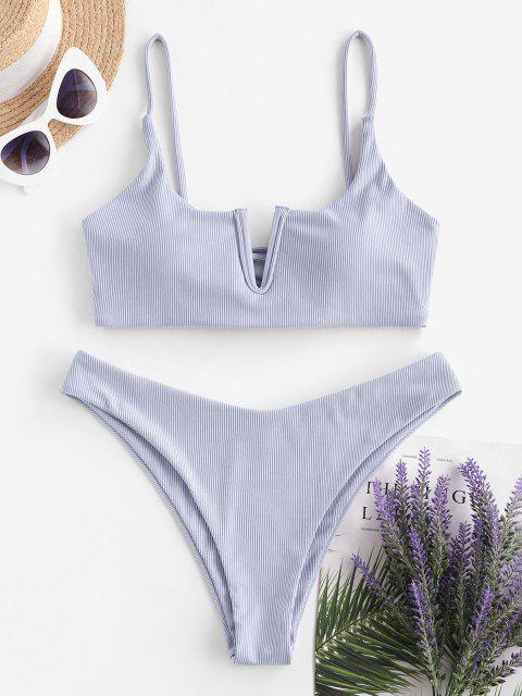fashion ZAFUL V Wired Ribbed Cross Lace-up Bikini Swimwear - LIGHT PURPLE M Mobile