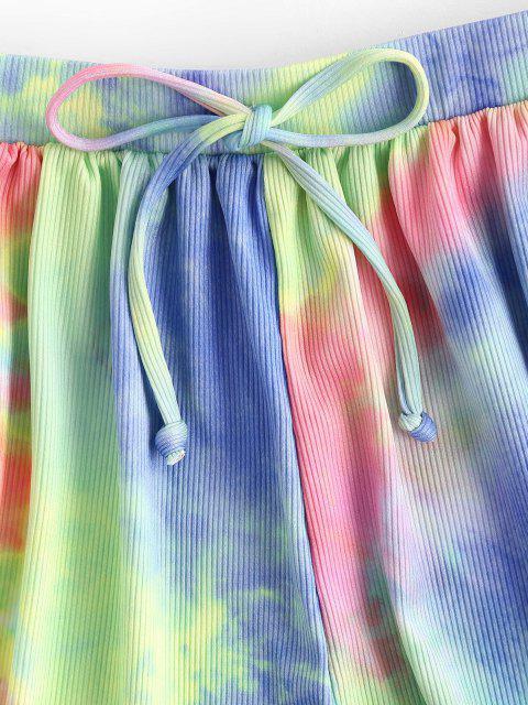 ZAFUL Krawattenfärbende Gerippter Schleife Sweatshirt mit Hohem Bein - Multi S Mobile