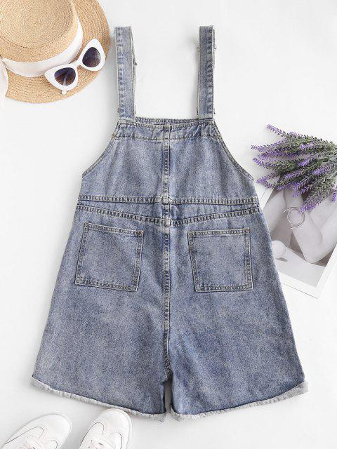 lady Denim Cuffed Hem Pockets Overalls Romper - LIGHT BLUE M Mobile