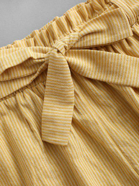 best ZAFUL Knitted Stripes Belted Paperbag Shorts Set - YELLOW S Mobile