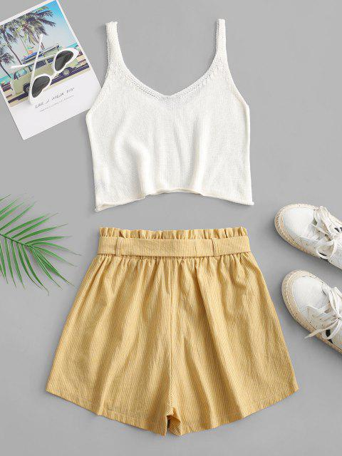 hot ZAFUL Knitted Stripes Belted Paperbag Shorts Set - YELLOW XL Mobile