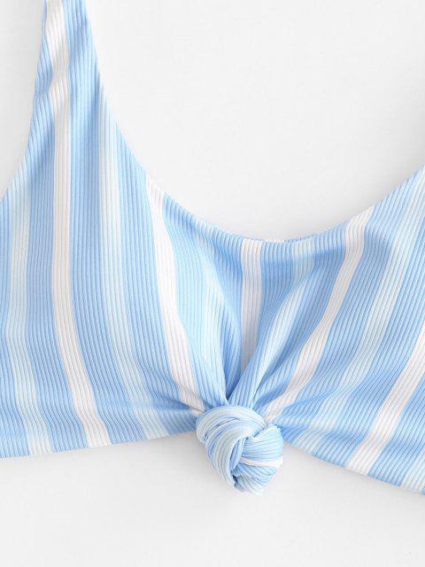 buy ZAFUL Ribbed Striped Knotted High Cut Bikini Swimwear - LIGHT BLUE M Mobile
