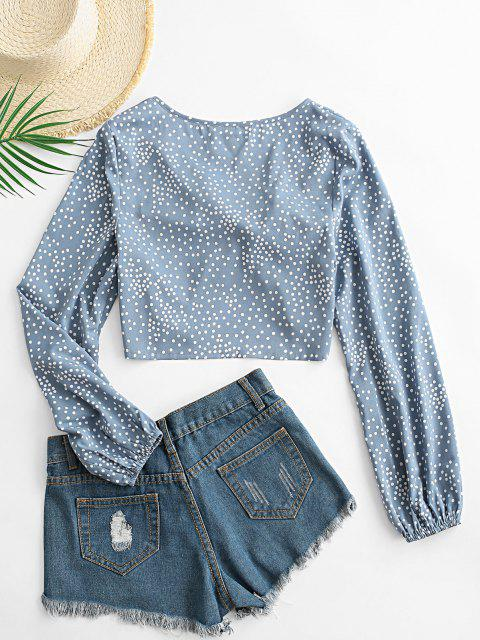 online ZAFUL Polka Dot Knotted Plunge Blouse - LIGHT BLUE XL Mobile