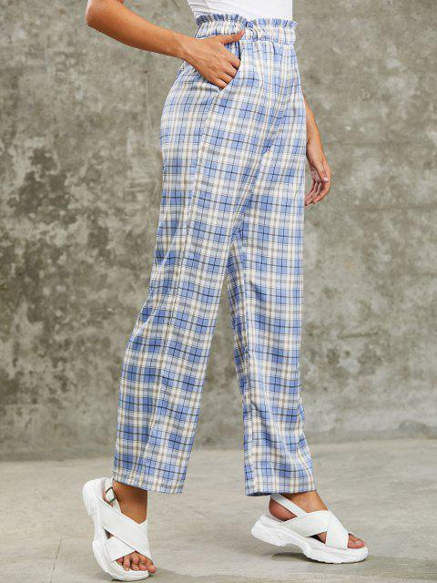 women's ZAFUL Grunge High Rise Plaid Paperbag Palazzo Pants - CORNFLOWER BLUE L Mobile