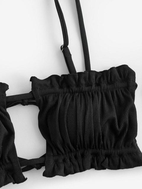 ZAFUL Maillot de Bain Bikini Léopard Côtelé à Volants Trois Pièces - Noir S Mobile