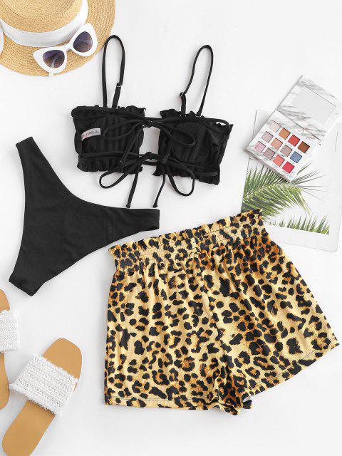 women ZAFUL Leopard Ruffle Ribbed Three Piece Bikini Swimwear - BLACK M Mobile
