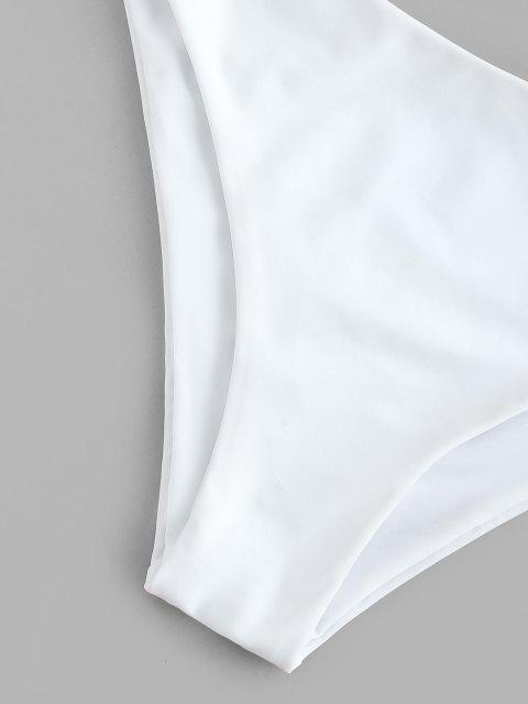 unique ZAFUL Colorful Striped Ribbed Cami Three Piece Bikini Swimwear - WHITE L Mobile