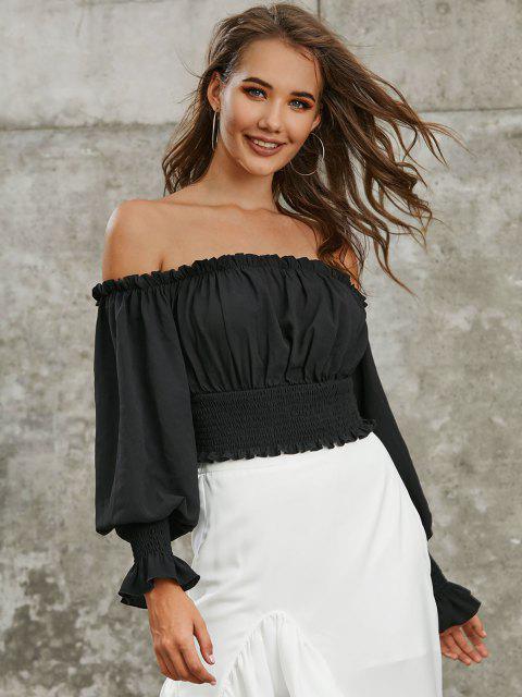 fashion ZAFUL Smocked Off The Shoulder Crop Blouse - BLACK S Mobile