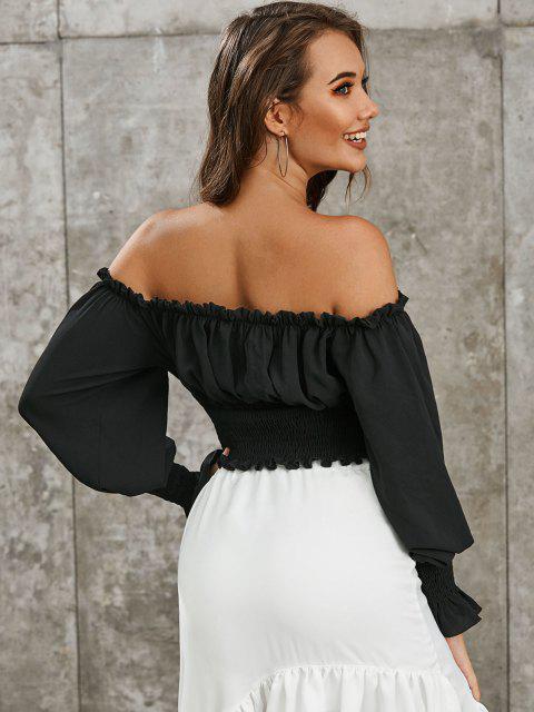 unique ZAFUL Smocked Off The Shoulder Crop Blouse - BLACK M Mobile
