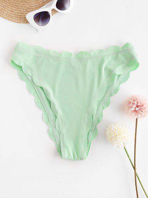 fancy ZAFUL Ribbed Plain Scalloped Bikini Bottom - MINT GREEN M Mobile
