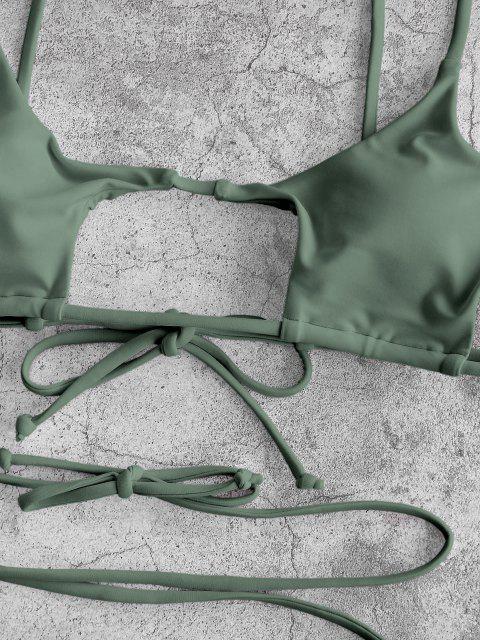 ZAFUL Biquíni com Corte e gravata floral - Luz verde M Mobile