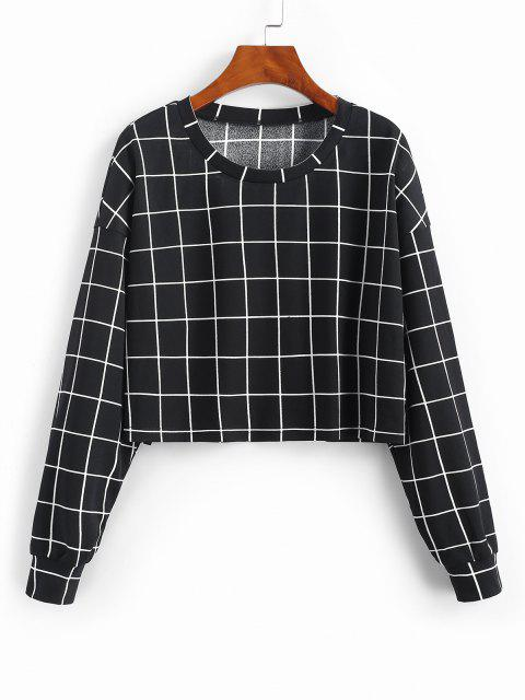 ZAFUL Grid Print Sweatshirt - أسود M Mobile