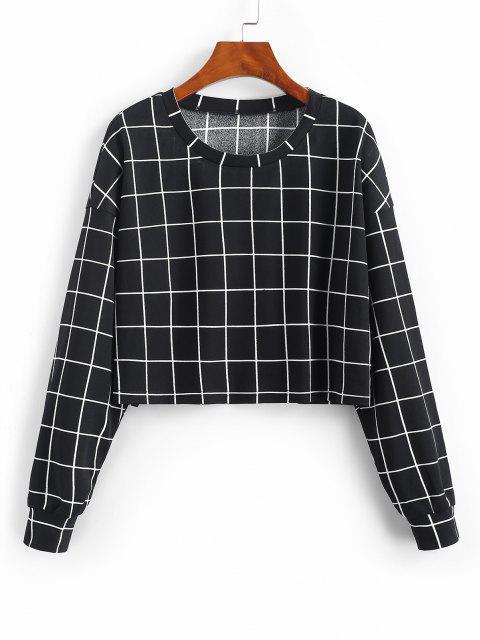 fashion ZAFUL Grid Print Sweatshirt - BLACK M Mobile