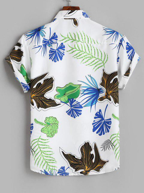 affordable Tropical Leaf Print Vacation Button Up Shirt - WHITE L Mobile