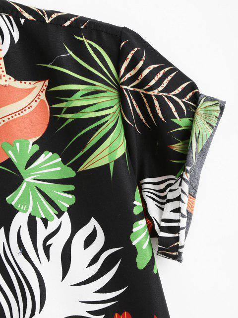ladies Tropical Leaf Print Vacation Button Up Shirt - BLACK L Mobile