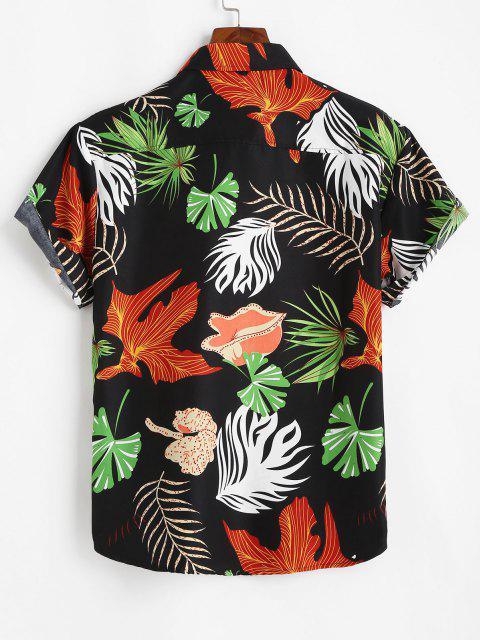 women's Tropical Leaf Print Vacation Button Up Shirt - BLACK M Mobile