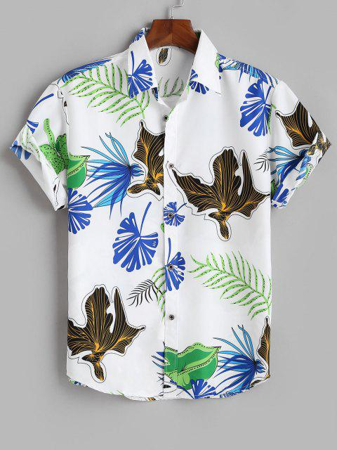 buy Tropical Leaf Print Vacation Button Up Shirt - WHITE XL Mobile