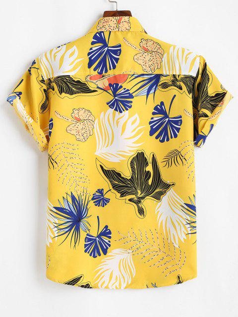 fancy Tropical Leaf Print Vacation Button Up Shirt - YELLOW 2XL Mobile