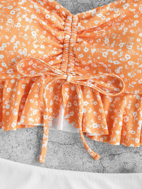 chic ZAFUL Ribbed Ditsy Print Cinched Peplum Tankini Swimwear - SANDY BROWN 2XL Mobile