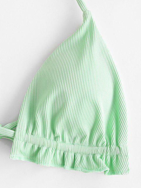 Bikini a Costine Volant con Halter di ZAFUL - Verde Menta  S Mobile