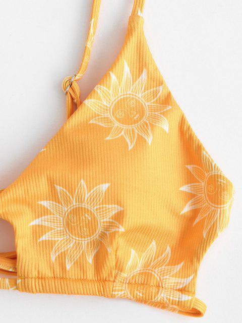 buy ZAFUL Star Moon Sun Print Cutout Ribbed String Bikini Swimwear - YELLOW S Mobile