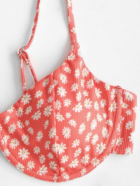 best ZAFUL Daisy Print Ribbed High Leg Bikini Swimwear - RED M Mobile