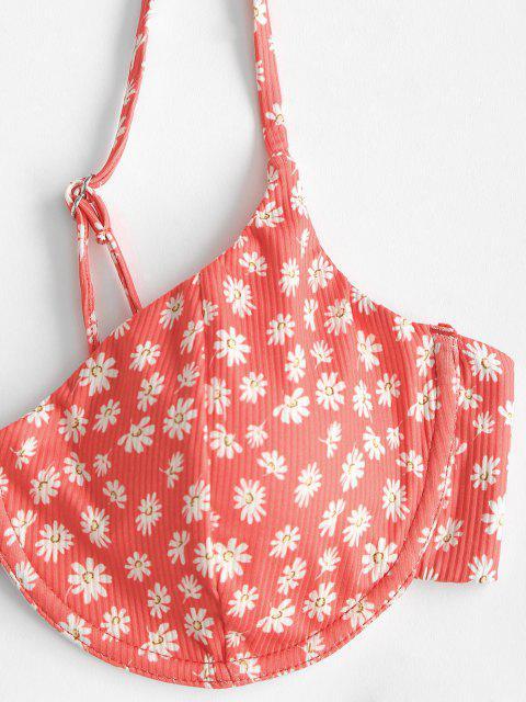 ZAFUL Daisydruck Gerippter Bikini Badebekleidung mit Hohem Bein - Rot L Mobile