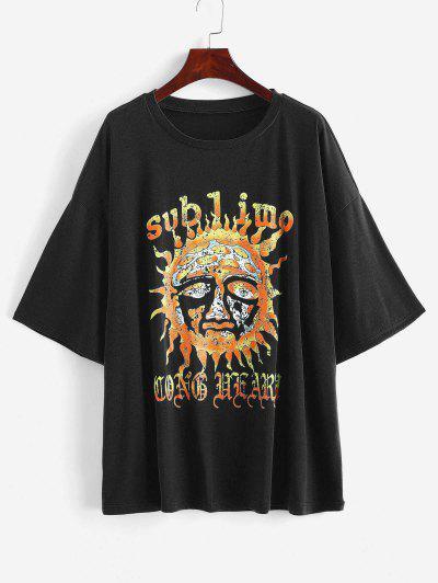 Camiseta Larga Suelta Estampado Sol - Negro M