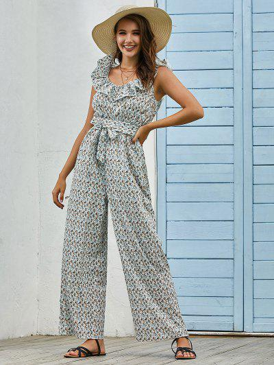 Belted Ruffles Ditsy Floral Wide Leg Jumpsuit - White L