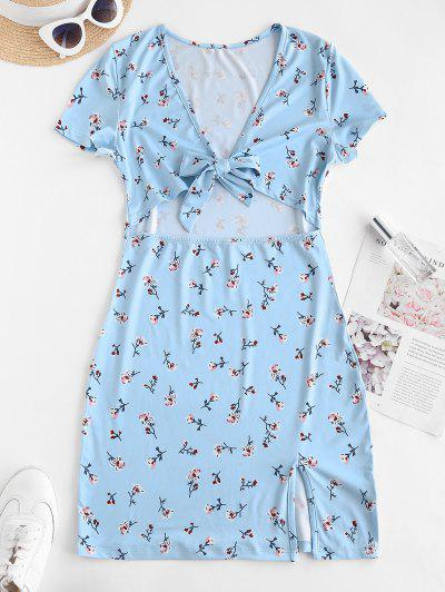 Tiny Floral Tie Front Cut Out Slit Mini Dress - Light Blue M