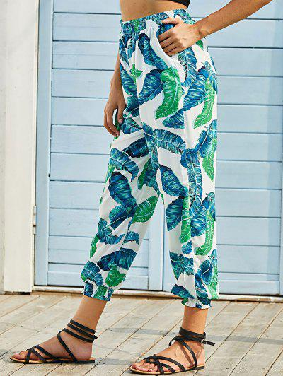 Tropical Leaf Print Pocket Jogger Pants - Green S