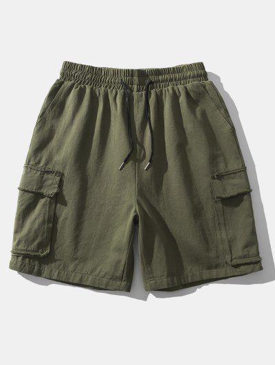 Shorts De Carga Con Bolsillos Con Solapa De Cintura Elástica - Verde M