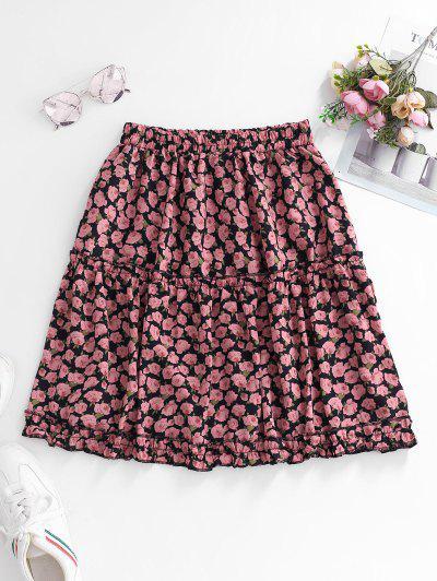 Ditsy Floral A Line Frilled Skirt - Light Pink S