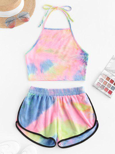 Two Piece Halter Tie Dye Dolphin Shorts Set - Light Pink M