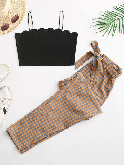 Camisa De Cintura Com Laço Xadrez - Laranja M