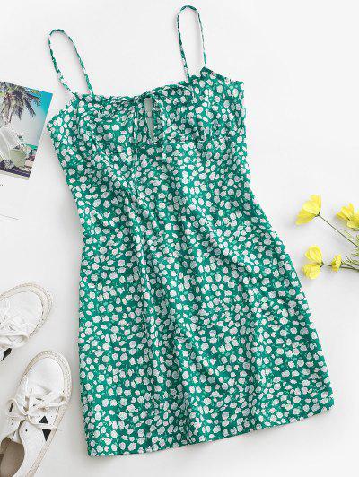 Rose Tie Collar Cami Mini Dress - Green M