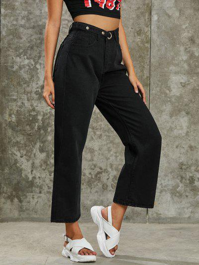 Pure Color Snap Button Denim Palazzo Pants - Black M