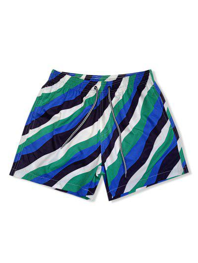 Color Blocking Striped Elastic Waist Shorts - Multi-a Xl
