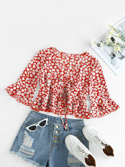 ZAFUL Cinched Ditsy Print Bell Sleeve Blouse - Ruby Red S