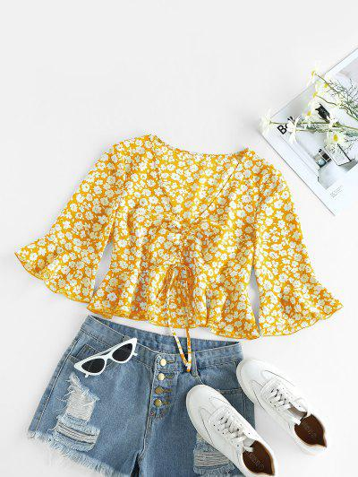 ZAFUL Cinched Ditsy Print Bell Sleeve Blouse - Rubber Ducky Yellow S
