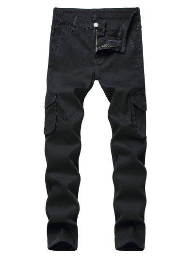 Pantalones Jeans Cónicos De Tiro Medio Con Bolsillos - Negro 32