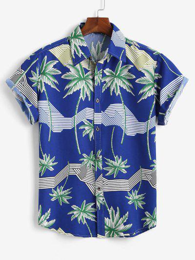 Chemise Hawaïenne Rayée Imprimé Palmier à Manches Courtes - Bleu L