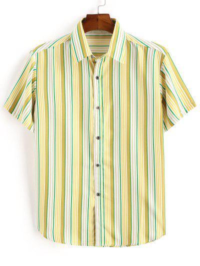 Striped Print Button Down Shirt - Yellow 2xl