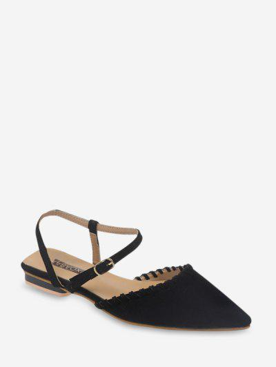 Pointed Toe Suede Flat Sandals - Black Eu 37