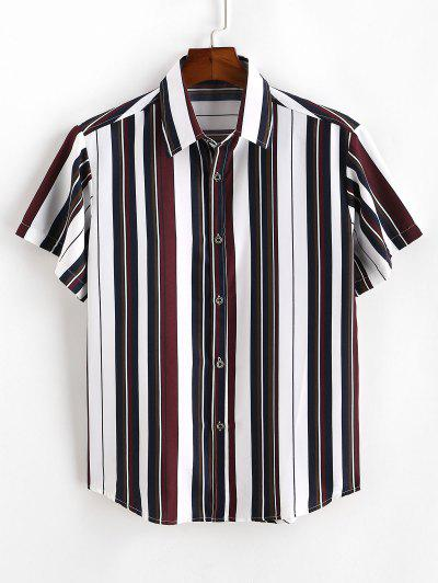 Colorblocking Striped Button Down Shirt - White L
